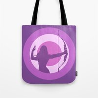 kate bishop Tote Bags featuring Kate Bishop: Young Avenger by semisweetshadow