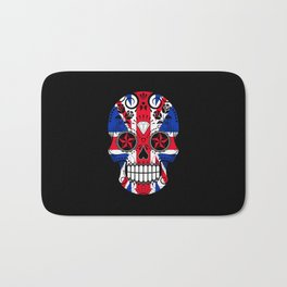 Sugar Skull with Roses and the Union Jack Flag Bath Mat