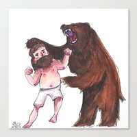 wrestling Canvas Prints featuring Bear Wrestling by Aude Lising
