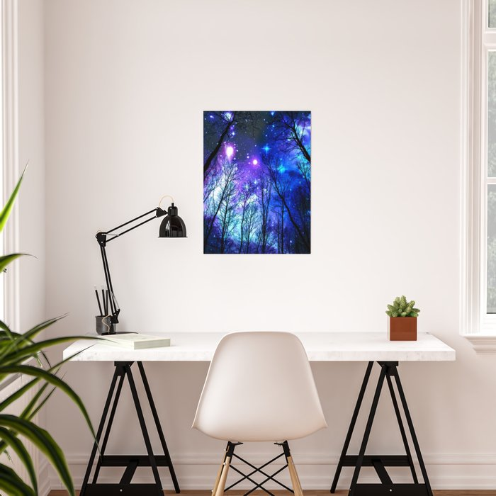 black trees purple blue space copyright protected Poster