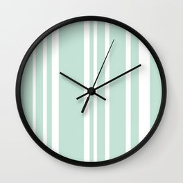 Turquoise and White Stripes Wall Clock
