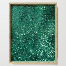 Sparkling EMERALD Lady Glitter #1 #shiny #decor #art #society6 Serving Tray