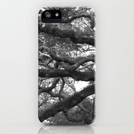 Live Oak Tree - black and white iPhone Case