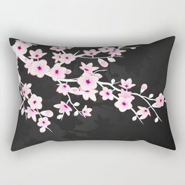 Pink Black Cherry Blossom Rectangular Pillow