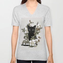 Cat With Flowers Unisex V-Neck