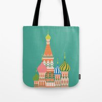 moscow Tote Bags featuring Moscow by Chay Lazaro