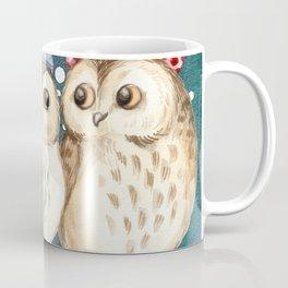 Cute Christmas Winter Owl Couple Painting Coffee Mug