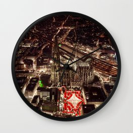 Above Christmas Market in Cologne, Germany Wall Clock