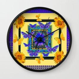 PURPLE BUTTERFLIES SUNFLOWERS MODERN ART Wall Clock