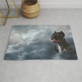 Drawing oil painting dog breed Cane Corso Rug