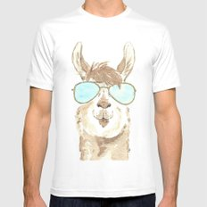 Aviator Llama Watercolor SMALL White Mens Fitted Tee