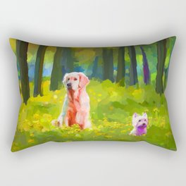 Two dogs in a wood Rectangular Pillow
