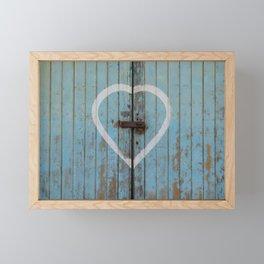 Rustic Blue Heart Framed Mini Art Print