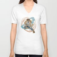 the legend of korra V-neck T-shirts featuring Korra by Vaahlkult