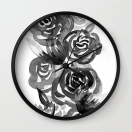 Black and White Watercolor Floral Stripe Wall Clock