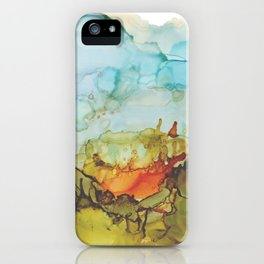 Alcohol Ink Abstract Landscape Farmland Sunset iPhone Case