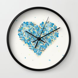 forget-me-nots heart Wall Clock