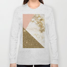 Gold marble collage Long Sleeve T-shirt