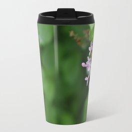 Rain Dewed Purple Flowers Travel Mug