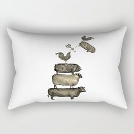 Farm Living - Stacked Animals Rectangular Pillow