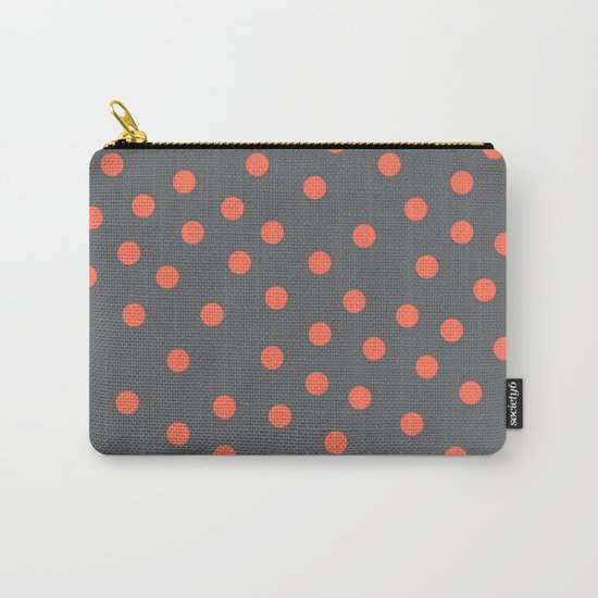 Simply Dots Deep Coral on Storm Gray Carry-All Pouch