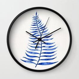 Navy Palm Leaf Wall Clock