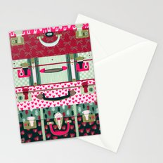 Pink patterned suitcases Stationery Cards