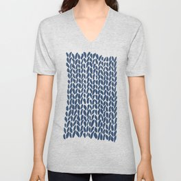 Hand Knit Zoom Navy Unisex V-Neck