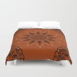 Central Mandala Curry Duvet Cover
