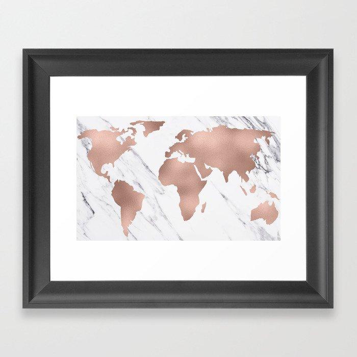 Marble world map rose gold pink framed art print by mapmaker society6 marble world map rose gold pink framed art print gumiabroncs Image collections