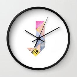 Collaged Tangram Alphabet - J Wall Clock