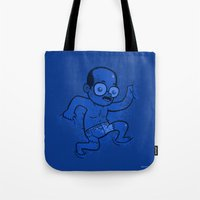 nudes Tote Bags featuring Where is Toby? by Anna-Maria Jung