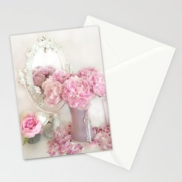 Shabby Chic Pink Peonies White Mirror Romantic Cottage Prints Home Decor Stationery Cards