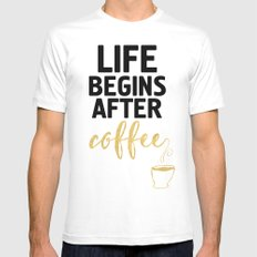 LIFE BEGINS AFTER COFFEE White MEDIUM Mens Fitted Tee