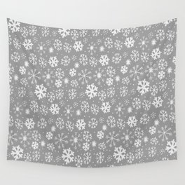 Snowflake Snowstorm In Silver Grey Wall Tapestry