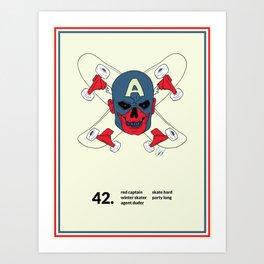 Red Captain Skater Art Print