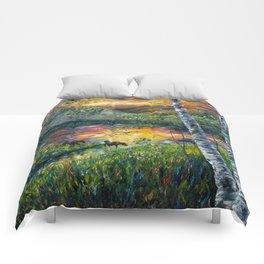 Sleeping Meadow (palette knife) Comforters