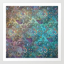 Pastel  Turquoise watercolor  OM symbol pattern Art Print