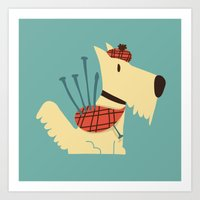 terrier Art Prints featuring Scottish  Terrier - My Pet by Picomodi