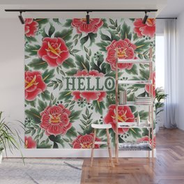 Hello - Vintage Floral Tattoo Collection Wall Mural