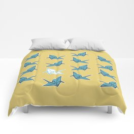 PAPER CRANES BABY BLUE AND YELLOW Comforters