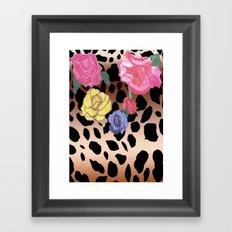 Gradient Leopard and Roses Framed Art Print