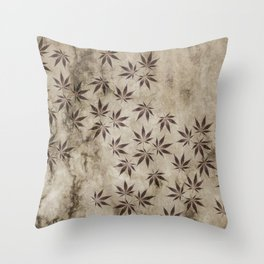 Marijuana Marble Throw Pillow