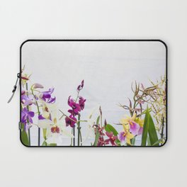 Different orchid plants on white background Laptop Sleeve