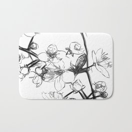 Cherry Blossoms Minimal Drawing Bath Mat