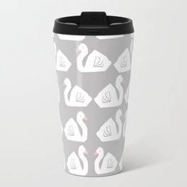 Swan minimal pattern print grey and white bird illustration swans nursery decor Travel Mug
