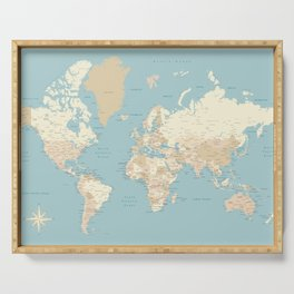 """Cream, brown and muted teal world map, """"Jett"""" Serving Tray"""