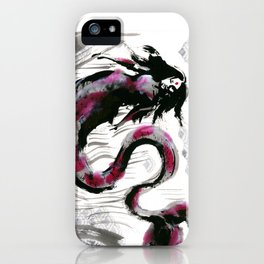 Calligraphic Koi MerMay with Wave Pattern iPhone Case