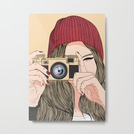 A girl with a camera Metal Print