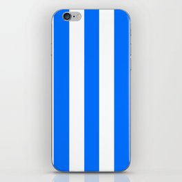 Brandeis blue - solid color - white vertical lines pattern iPhone Skin